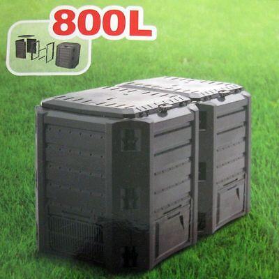 Garten Komposter Thermo-Komposter Schwarz Modul Kunststoff Komposter 800L !