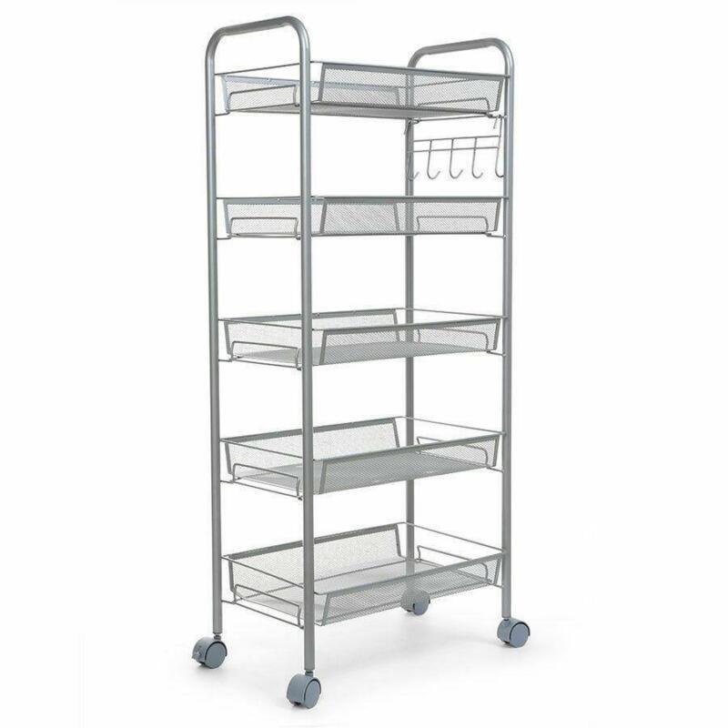5 Tier Shelving Rack Shelf Shelving Rolling Kitchen Storage Utility Cart US