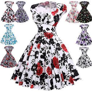 Floral femmes t vintage ann es 50 de 60 robe au foyer for Femme au foyer annees 50