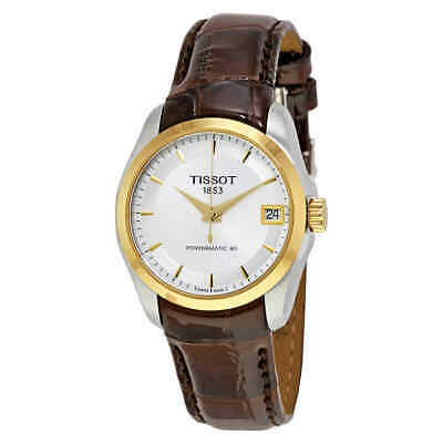Tissot Couturier Automatic Silver Dial Ladies Leather Watch T0352072603100