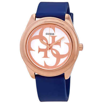 Guess G-Twist Silver Dial Blue Silicone Ladies Watch W0911L6