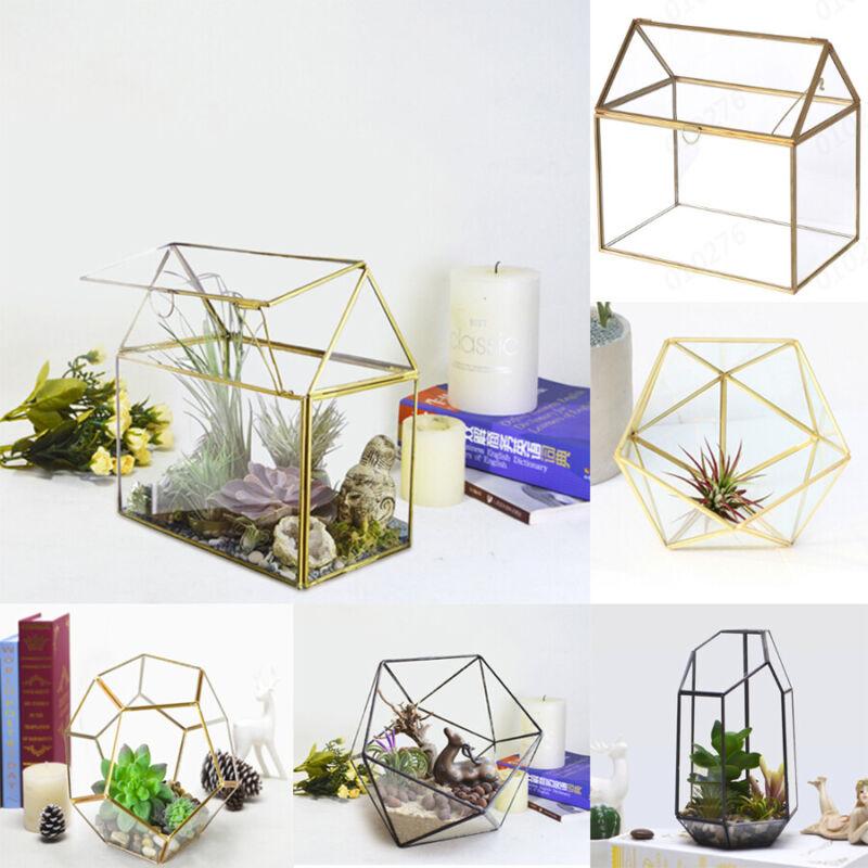 antique glass geometric house terrarium succulent planter