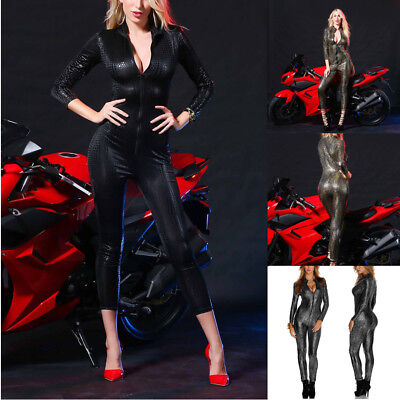Sexy Damen Wetlook Jumpsuit Bodysuit Leder Club Catsuit Kostüm Playsuit - Sexy Cat Suit Kostüm