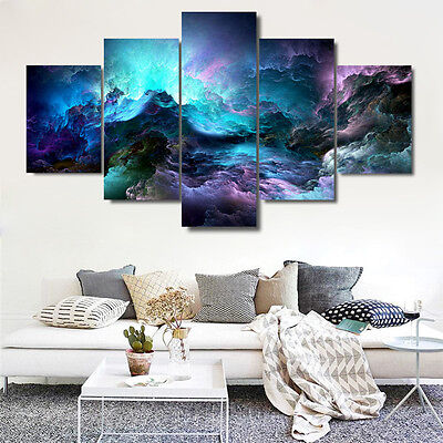 Abstract Canvas Wall Art Painting Print 5 Piece Milky Way Galaxy Home Room Decor