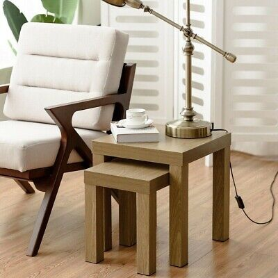 Set of 2 Nesting Coffee End Table Side Tables Living Room Home Decor Wood Color