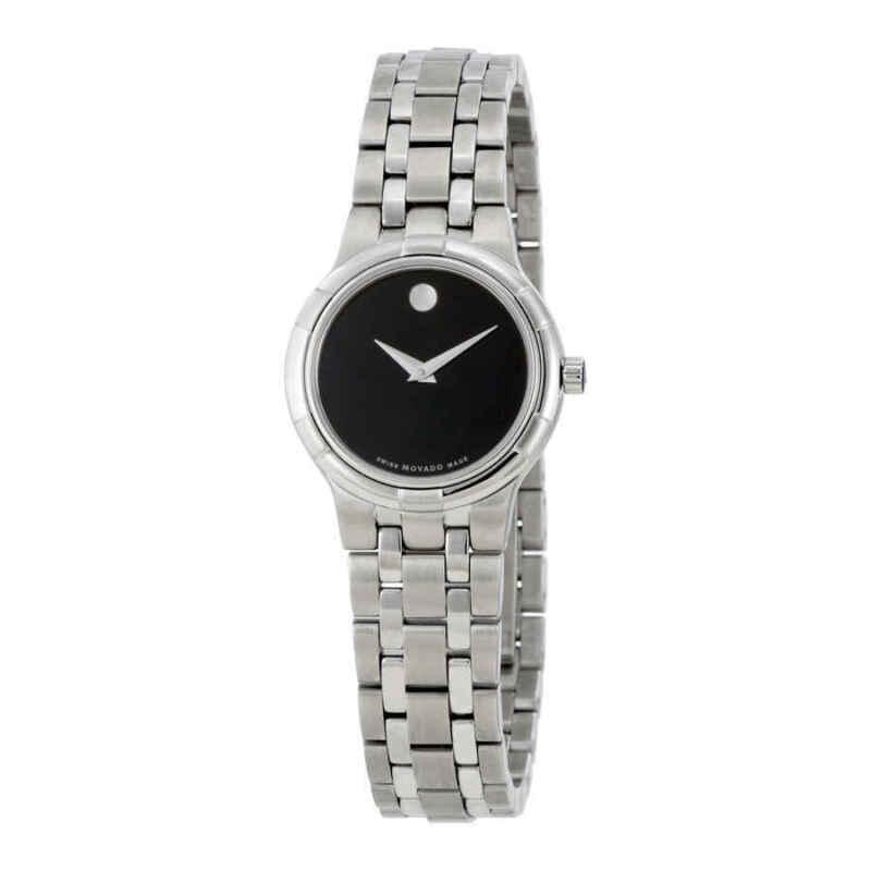 Movado Metio Black Dial Stainless Steel Ladies Watch 0606204