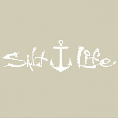 "SALT LIFE ANCHOR & SIGNATURE ""WHITE"" UV Rated Vinyl Medium DECAL *FREE SHIPPING*"