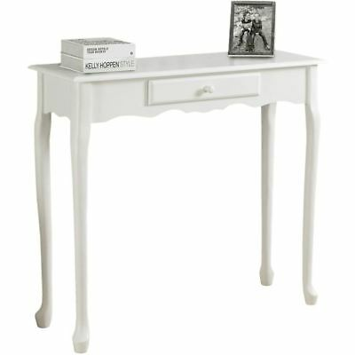 "Accent Table 36""L Antique White Hall Console"