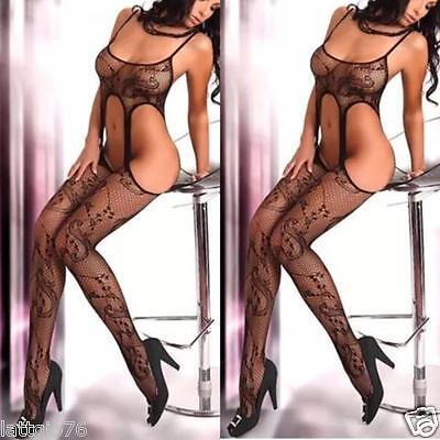 Bodystocking donna intimo notte body rete sexy lingerie nero reggicalze hot TQ