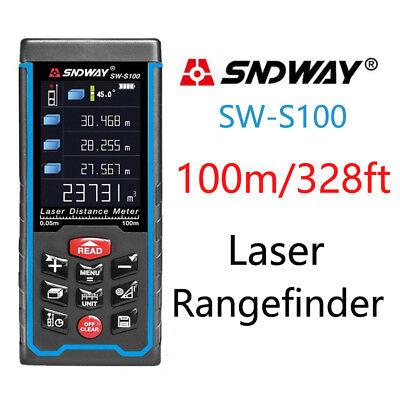 New Sndway S100 Laser Distance Meter100m Digital Laser Area Volume Measure Tool
