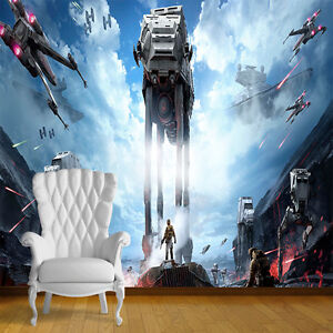 star wars at at attack wall art wall mural self adhesive vinyl decal wallpaper. Black Bedroom Furniture Sets. Home Design Ideas