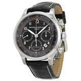 Baume and Mercier Capeland Chronograph Black Dial  Black Alligator Leather Mens