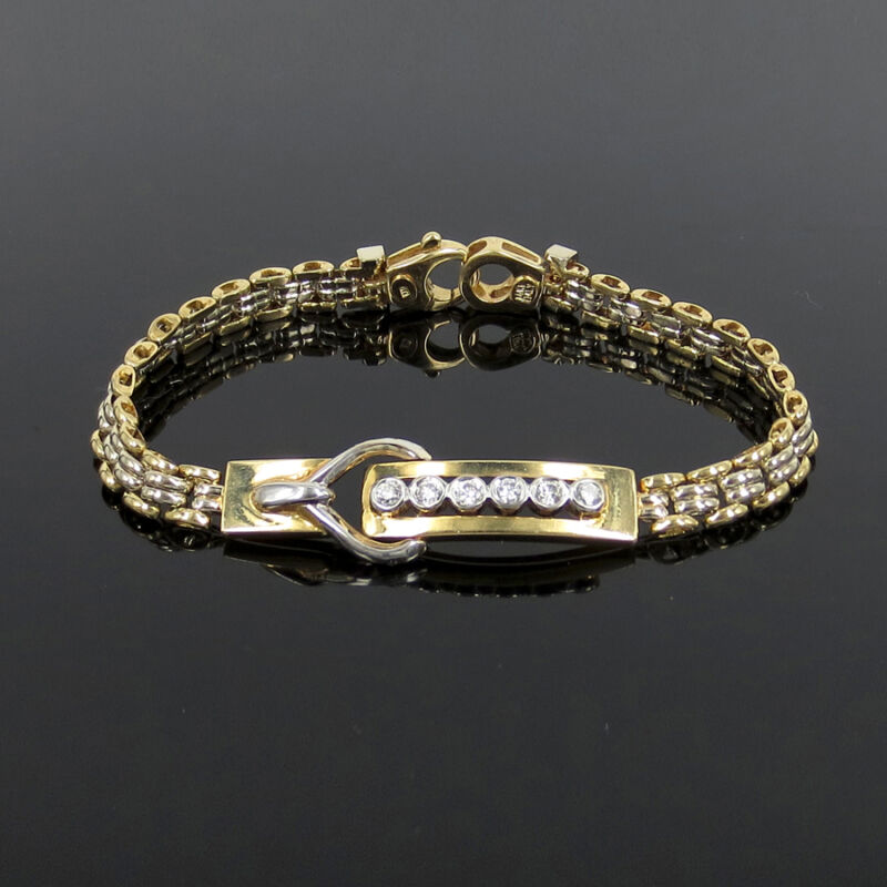 Gerard 0.50ct Fine Diamond 14k White & Yellow Gold Belt Style Bracelet