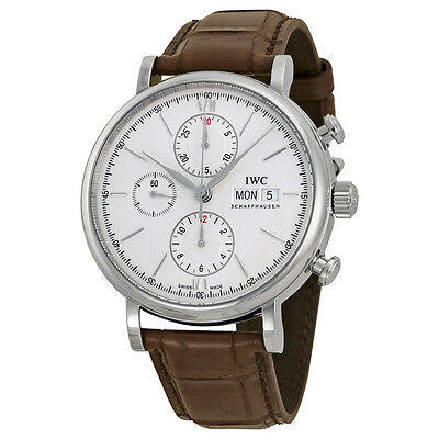 IWC Portofino Silver Dial Chronograph Brown Leather Mens Watch IW391007