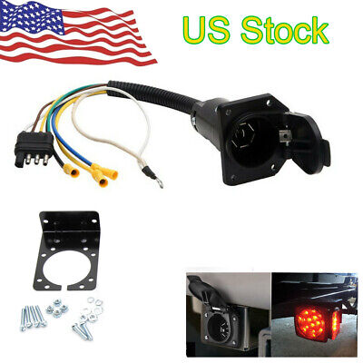 4 Flat to 7 Way RV Trailer Light Plug Wire Harness Converter Adapter US Seller