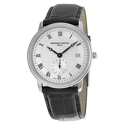 Frederique Constant Slim Line Silver Dial Black Leather Mens Watch FC-245M4S6