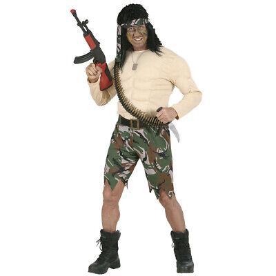 HERREN MUSKEL SOLDATENKOSTÜM Karneval Dschungel Soldaten Söldner Vietnam Kostüm
