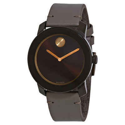 Movado Bold Brown Sunray Dial Grey Leather Men's Watch 3600455