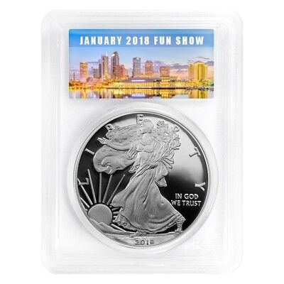2018-W 1 oz Proof Silver American Eagle PCGS PF 70 First Strike (Fun Show Label)
