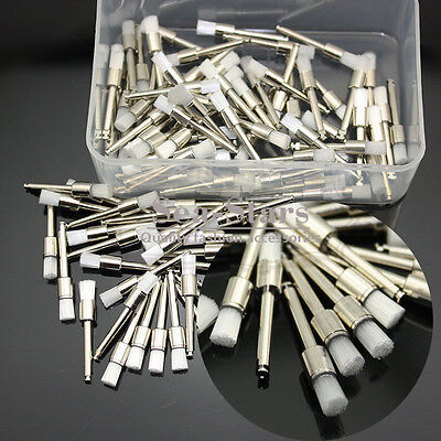 New 100 Pcs Disposable Flat Dental White Nylon Polishing Polisher Prophy Brush