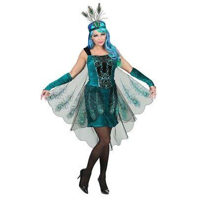 PFAUEN DAMEN KLEID & FEDERKOPFSCHMUCK # Karneval Paradiesvogel Vogel Kostüm 0806