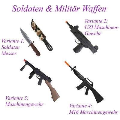 SOLDAT KOSTÜM ZUBEHÖR KINDER Militär Waffen Maschinengewehr UZI M16 Messer KP20 (Militär Kostüm Zubehör)