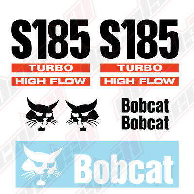 Bobcat S185 Turbo High Flow Skid Steer Set Vinyl Decal Sticker - Aftermarket