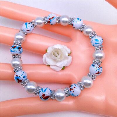 Wholesale Fashion Jewelry 8mm Pearl Camouflage Beads Stretch Bracelet - Camouflage Jewelry