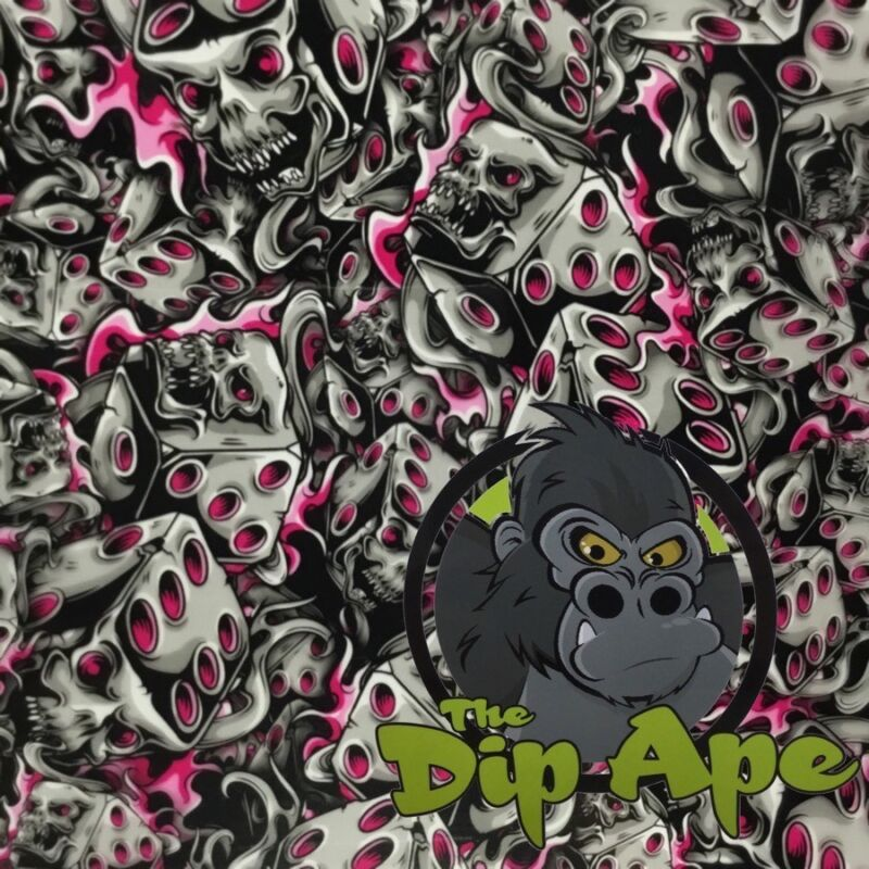 PINK FLAMING DICE SKULLS HYDROGRAPHIC WATER TRANSFER HYDRO FILM DIP APE