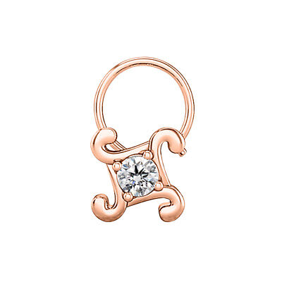 SOLITAIRE FOUR PETALS 14K ROSE GOLD FINISH 925 STERLING SILVER CZ DAILY NOSE PIN