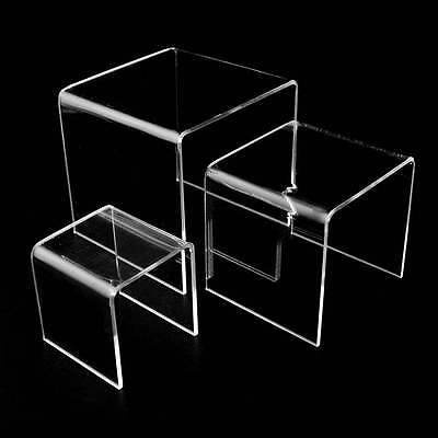 "Acrylic Clear Display Risers Set of 3 (3"" 4"" 5"" inch) Jewelry Showcase Fixtures"