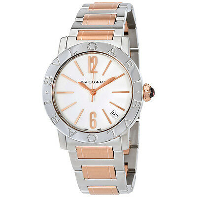Bvlgari White Lacquered Dial Stainless Steel & 18k Pink Gold Ladies Watch 102265