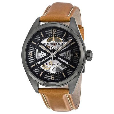 Hamilton Khaki Field Skeleton Dial Brown Leather Mens Watch H72585535