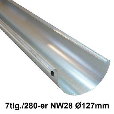 2m Dachrinne, Regenrinne, Ablaufrinne, 7tlg./280-er NW28 Ø127mm