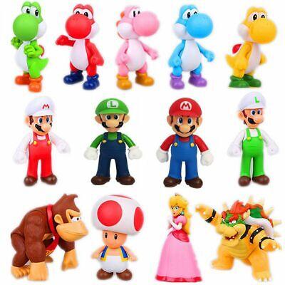 Super Mario Bros Luigi Mario Yoshi Wario Bowser Action Figure Kids Collection