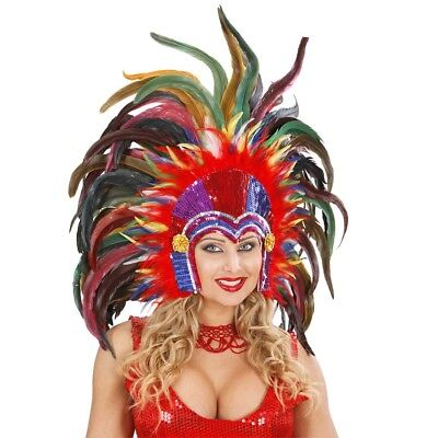 RIO FEDERKOPFSCHMUCK Karneval Gogo Brasilien Feder Kopfschmuck bunt Kostüm - Karneval Kostüm Brasilien