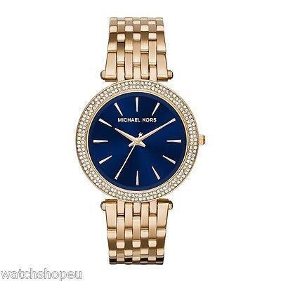 Neu Michael Kors MK3406 Damen Gold und Blau Darci Uhr - 2 Jahre Garantie