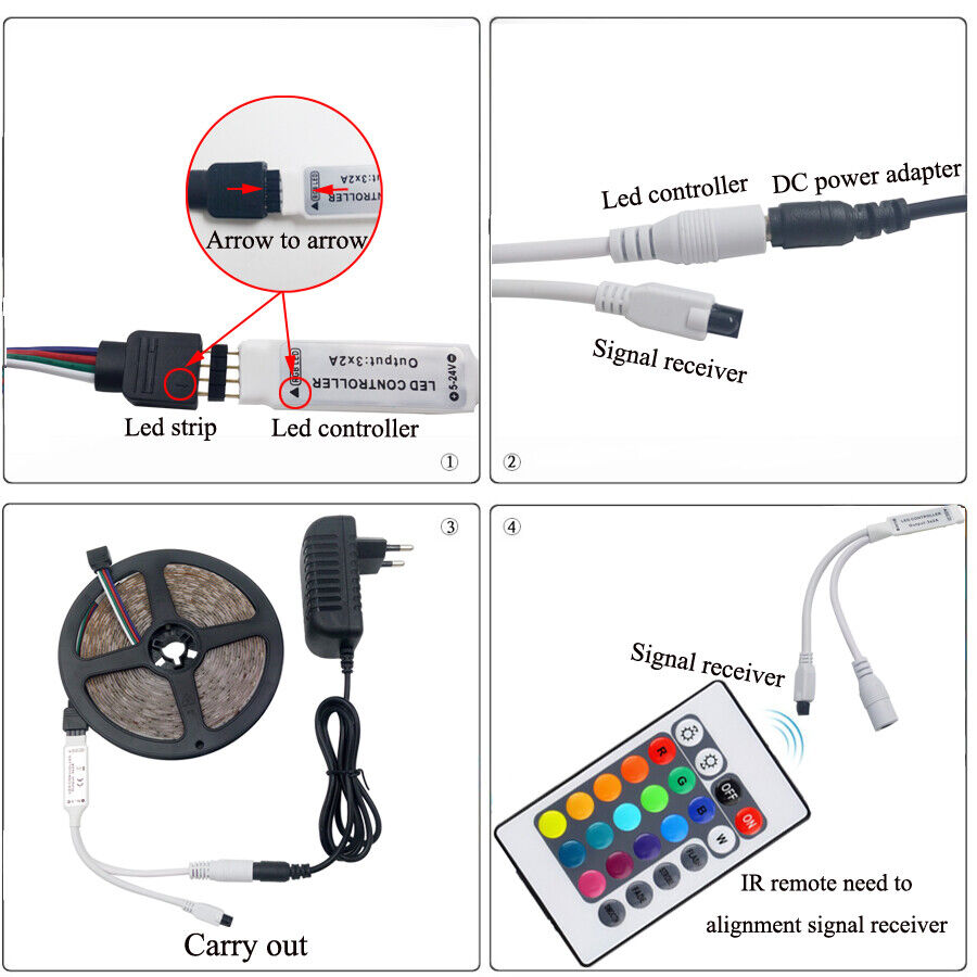 "Waterproof 5M LED Strip Light RGB ""5050"" SMD Light Tape Full Kit Indoor Outdoor Home & Garden"
