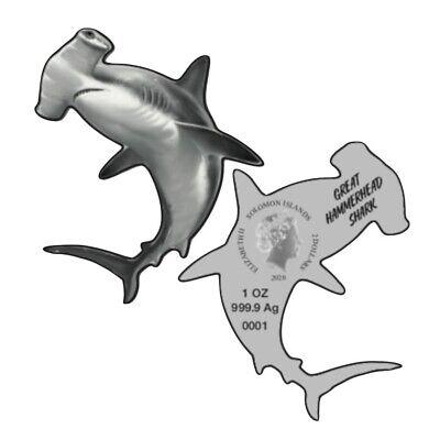 Lot of 2 - 2020 1 oz Silver Great Hammerhead Shark Solomon Islands $2 Coin .9999