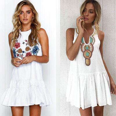 Damen Strandkleid Boho Kleider Sommerkleid Minikleid Party Ärmellos Blumen Top Blume Kleid Kleider