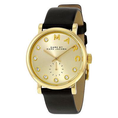 New Marc Jacobs Baker Gold Dial Black Leather Quartz Leadies Watch MBM1399