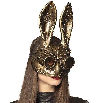 BUNNY STEAMPUNK MASKE # Retro Gothic Viktorianische Kostüm Hasen Halbmaske 54538 (Gold Kostüm Maske)