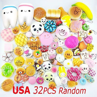 32Pcs  Jumbo/Medium/Mini Random Squishy Soft Panda/Bread/Cake/Teeth Phone Straps