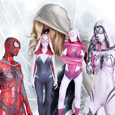 Spider Gwen Stacy Venom Cosplay Girl Women Spiderman Jumpsuit Halloween Costume  - Spiderman Venom Halloween Costume