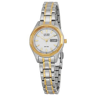 Citizen Eco-Drive Women's EW3144-51A Sports Two-Tone WR100 Day & Date Watch New