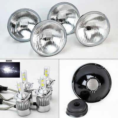 "FOUR 5.75"" 5 3/4 OE Round Glass Headlight Conversion w/ 36W LED H4 Bulbs Dodge"