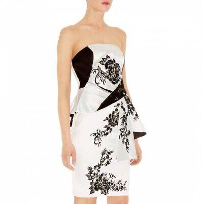 Karen Millen Oriental Embroidered Dress Size 10, White, Size 10 RRP£215 DQ256