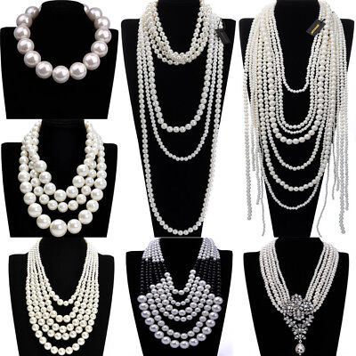 Fashion Jewelry Resin Pearl Chain Choker Chunky Statement Pendant Bib Necklace - White Bead Necklaces