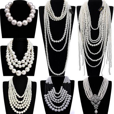 Fashion Jewelry Resin Pearl Chain Choker Chunky Statement Pendant Bib - Bead Chain Necklace