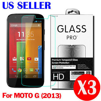 3X Actual Tempered Glass Screen Protector for Motorola Moto G 1st Generation 2013